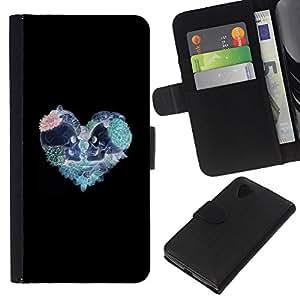 KLONGSHOP // Tirón de la caja Cartera de cuero con ranuras para tarjetas - Corazón del trullo rosado del modelo del cráneo Negro - LG Nexus 5 D820 D821 //