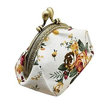 Billetera Cartera Mujer Piel Yesmile 🌲Damas de Mujer Retro Vintage Carteras Cartera pequeña con Estampado de Flores Bolso de Cerrojo Bolsa de Embrague: ...
