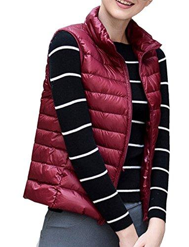 Gilet Vest Down BELLOO Women Sleeveless Ultralight Burgundy Body Warmer Ladies Girls C00qnawH
