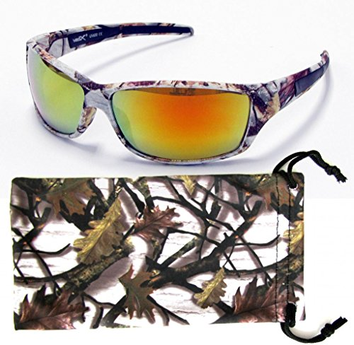 VertX Mens Sport Camouflage Sunglasses Fishing Hunting Outdoor Free Micorfiber Camo Pouch – White Snow Camo Frame – Orange Lens Camo Sport Glasses