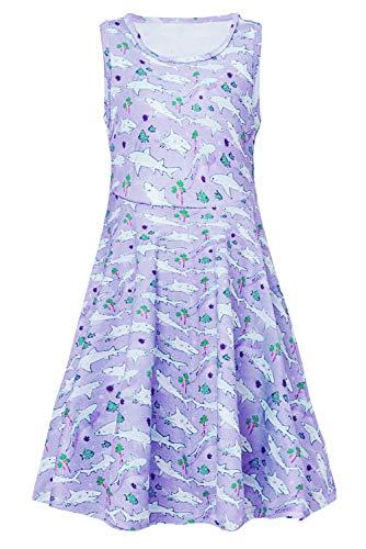 RAISEVERN Girl's Shark Dress Sleeveless Sundress Cute Round Neck Sea Dolphin Dresses Summer Holiday Beachwear for Child 8-9T