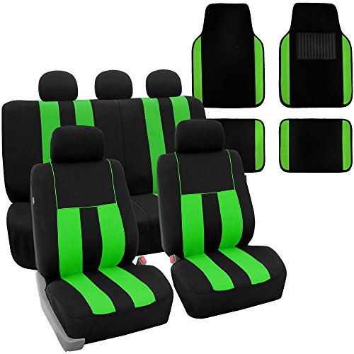 Green Car Mat - FH Group FH-FB036115 + F14407 Combo Set: Striking Striped Seat Covers with Premium Carpet Floor Mats Green/Black Color- Fit Most Car, Truck, SUV, or Van