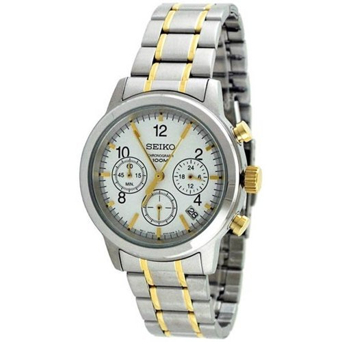 Mens-Two-Tone-Stainless-Steel-Quartz-Chronograph-White-Dial