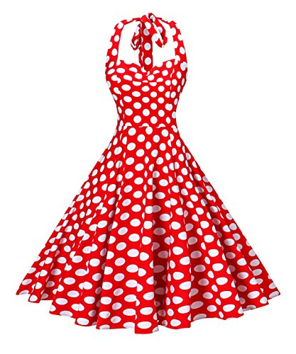 V Fashion Women 's Rockabilly 50s Vintage Polka Dots Halter Cocktail Swing Dress Red and White Small