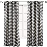 Set of 2 Panels 108″ Wx108 L -Royal Tradition-Charcoal- Abstract Lisette Chevron Jacquard Curtain, 54-Inch by 108-Inch Each Panel. Package Contains Set of 2 Panels 108 inch Long For Sale