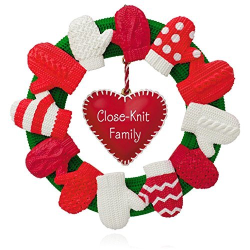 A Close-Knit Family Mitten Wreath Ornament 2015 Hallmark by Hallmark