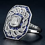 Dokis 925 Silver White Topaz Woman Blue Sapphire Man Ring Engagement Jewelry Size 5-10 | Model RNG - 16708 | 7
