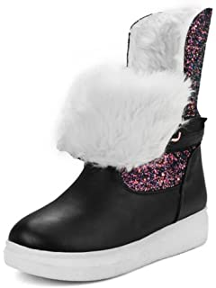Women's Comfy Sequins Buckle Flat Fleece Lined Thick Winter Boots Mid Calf Snow Booties