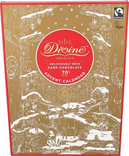 Divine Dark Chocolate - Divine Chocolate, Chocolate Dark Advent Calendar, 3 Ounce