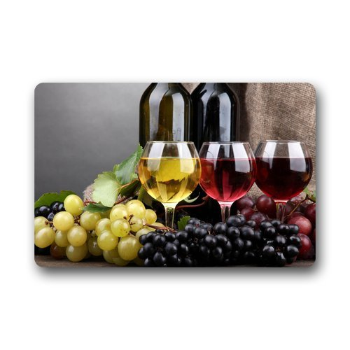 Custom Machine-washable Door Mat Wine and Grapes Indoor/Outdoor Decor Rug Doormat 23.6