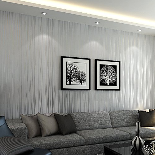 Mavee Non-Woven 3D Wallpaper, Print Embossed, Modern Stripe Fashion Wallpaper for Livingroom, Bedroom, Kitchen and Bathroom (20.8In x 32.8Ft)