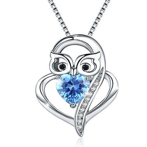 Cuoka Sterling S925 Silver Blue Love Heart with Owl Pendant Necklaces for Mom Jewelry Women Necklace