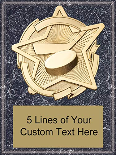 Express Medals 6 x 8 Black Marble Finish Ice Hockey Star Plaque Trophy Award with Custom Engraved Personalized Text - Award Plaque Hockey