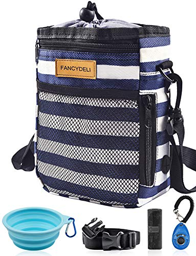 FANCYDELI Dog Treat Training Pouch, Easily Access to Pet Toys, Kibble, Treats, with Waist Belt, Shoulder Strap, Poop Bag, Clicker, Collapsible Bowl - Build-in Waste Bag Dispenser Blue-White