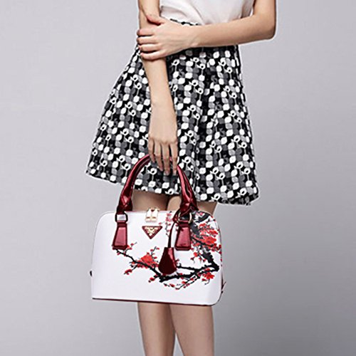 Elegant Tangbasi Tote White Gift Printed Birthday Handbags Bags Leather Faux Women Floral Shoulder fqrxZq6d