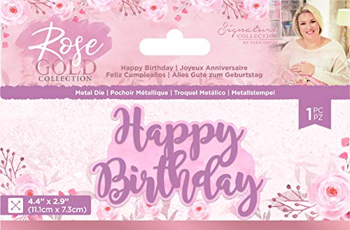 Sara Signature S-RG-MD-HAPP Rose Gold Collection-Metal Die-Happy Birthday, us:one Size, Silver