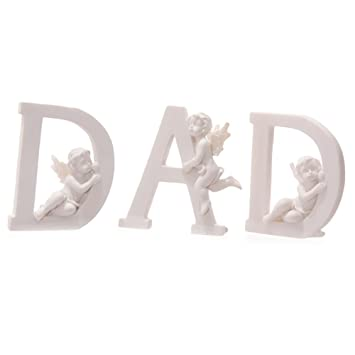set of 3 angel cherub dad letters ornaments figures grave memorial