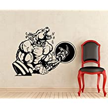 Bodybuilding Sticker Powerlifting Strong Man Gym Wall Decal Fitness Motivation Bear Barbell Beast Mode Vinyl Sticker Sport Wall Decor Removable Waterproof Decal (22t)
