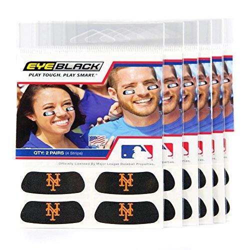 (24 Strips) Eye Black - New York Mets MLB Eye Black Anti Glare Strips, Great for Fans & Athletes on Game Day ()
