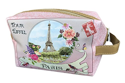 Chic Paris Tour Eiffel Pink Cosmetic Travel Organizer Bag with Handle