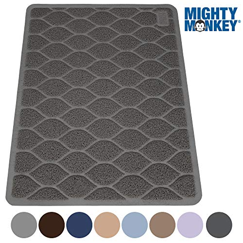 MIGHTY MONKEY Premium Cat Litter Trapping Mats, Phthalate Free, Best Scatter Control, Jumbo XL Sizes (35