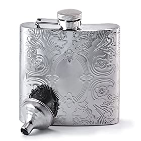Perfect Pregame Mirrored Calico Pattern Hip Flask – Cool Stainless Steel Liquor Flask For Women and Men – Includes Funnel