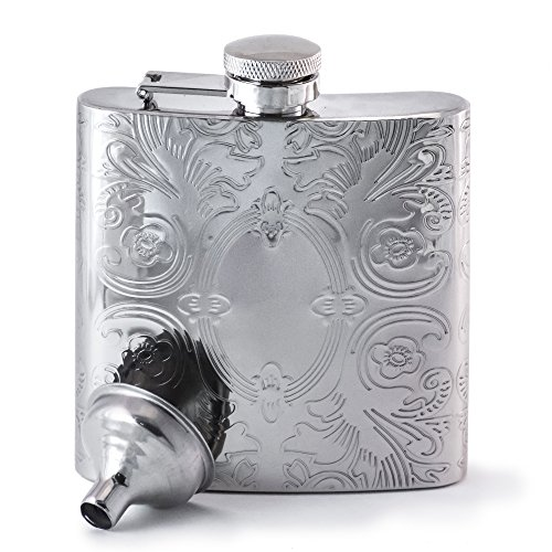 Perfect Pregame Mirrored Calico Pattern Hip Flask - Cool Stainless Steel Liquor Flask For Women and Men - Includes Funnel ()