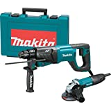 "Makita HR2641X1 SDS-PLUS 3-Mode Variable Speed AVT Rotary Hammer with Case and 4-1/2"" Angle Grinder, 1"""