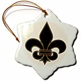 3dRose orn_22360_1 Large Black and Gold Fleur De Lis Christian Saints Symbol Porcelain Snowflake Ornament, 3-Inch