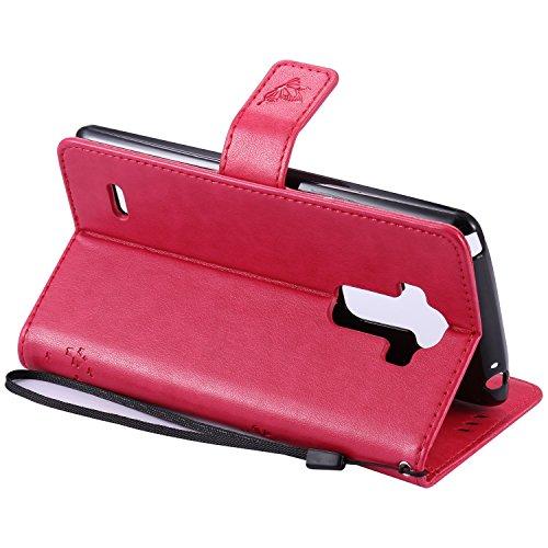 Carcasa LG G4 Stylus LS770, Funda LG G Stylo LS770, JAWSEU LG G4 Stylus LS770 Tapa Trasera Carcasa Diseño Empalme Cuero Billetera PU Leather Premium y Suave TPU Silicona Case pare LG G Stylo LS770 Pro Árbol y gato, Rosa Caliente