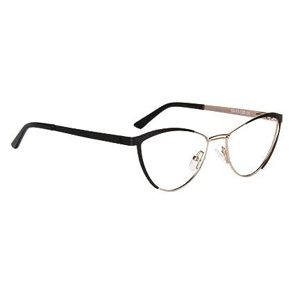 4e04463318 Amazon.com  Zeelool Women s Metal Browline Cat Eye Glasses Frame with Clear  Lens Sydney FM0125-01 Black  Clothing