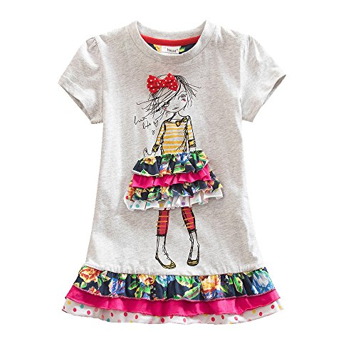 Juxinsu Cotton Girl Short Sleeve Dress Little Girl Cartoon Pattern for Summer Baby Clothes 3-8 Years SH3660 (Gray, 7t) by Juxinsu