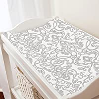 Carousel Designs Gray Filigree Changing Pad Cover - Organic 100% Cotton Chang...