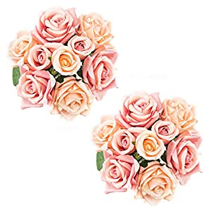 Foraineam 2-Pack Rose Fake Flowers 9 Heads Bridal Wedding Bouquets Silk Artificial Roses Flowers 6