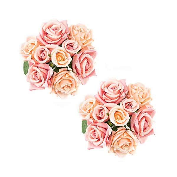 Foraineam-2-Pack-Rose-Fake-Flowers-9-Heads-Bridal-Wedding-Bouquets-Silk-Artificial-Roses-Flowers