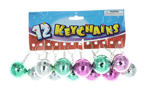 (Disco Ball Key Chain Mirror Reflection Assorted Colors Party Favors Lot of)