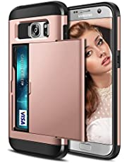 Coolden Armor Shockproof Case for Galaxy S7 Edge Wallet Case Cover Protective Case Heavy Duty Hard Back Rubber Bumper Phone Case Card Holder Slot Wallet Case Cover for Galaxy S7 Edge