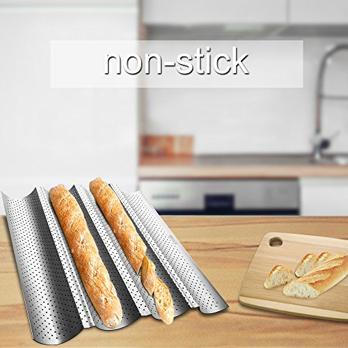 Amagabeli Nonstick Perforated Baguette Pan 15'' x 13'' for French Bread Baking 4 Wave Loaves Loaf Bake Mold Toast Cooking Bakers Molding 4 Gutter Oven Toaster Pan Cloche Waves Silver Steel Tray Italian by AMAGABELI GARDEN & HOME (Image #6)