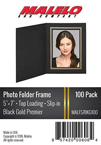 Black/Gold Cardboard Photo Folder Frame 5X7 - Pack of 100