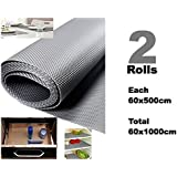 Bulfyss Multi-purpose Textured Strong Anti-Slip EVA Mat (Grey, 60x1000 cm) - Set of 2