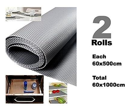 Bulfyss Multi-purpose Textured Strong Anti-Slip EVA Mat (Grey, 60x1000 cm) - Set of 2