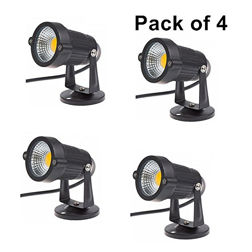 Familite Outdoor Waterproof Decorative Spotlight-6W COB LED Landscape Garden Wall Yard Path Light AC/DC 12V with Flat Base, Pack of 4 (Warm (Accent 12v Accent)