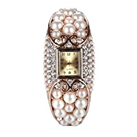 Ht Jewelry Alloy Cream Pearl with White Crystal Waist Authentic Watches Rose Gold Filled B0033 59x47mm
