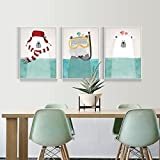 3 Piece Nordic Animal Bear Painting Prints On Canvas Wall Art Decor For Kid Room Baby Room Kids Room With Fashion Frame Ready To Hang (White Frame, 9.3x12.8inchx3 Panel)