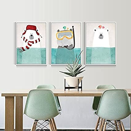 3 Piece Nordic Animal Bear Painting Prints On Canvas Wall Art Decor For Kid  Room Baby