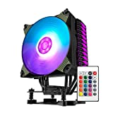 CPU Cooler, Aigo CPU Air Cooler Premium Quiet 4 Direct Contact Heatpipes Colorful 120mm PWM Fan RGB LED with Remote for AMD/Intel AM4 AM3+ AM3 LGA2011 LGA1366 and More
