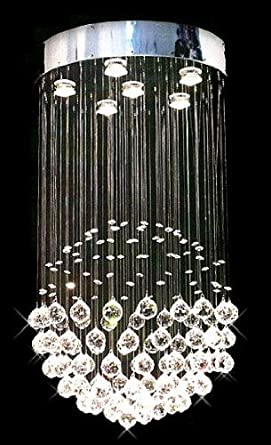Siljoy modern chandelier rain drop lighting crystal ball fixture siljoy modern chandelier rain drop lighting crystal ball fixture pendant ceiling lamp contemporary sphere chandeliers h32 x w18 aloadofball Gallery