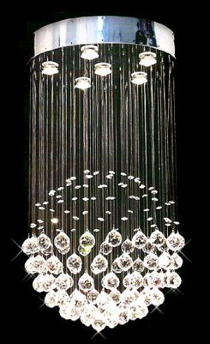 Siljoy Modern Chandelier Rain Drop Lighting Crystal Ball Fixture Pendant Ceiling Lamp Contemporary Sphere Chandeliers H32″ X W18″