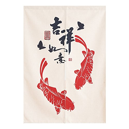 - BAIHT HOME Cotton Linen Door Curtain Fish Pattern Japanese Noren Curtain Tapestry Bedroom Divider Doorway Curtain 33.5