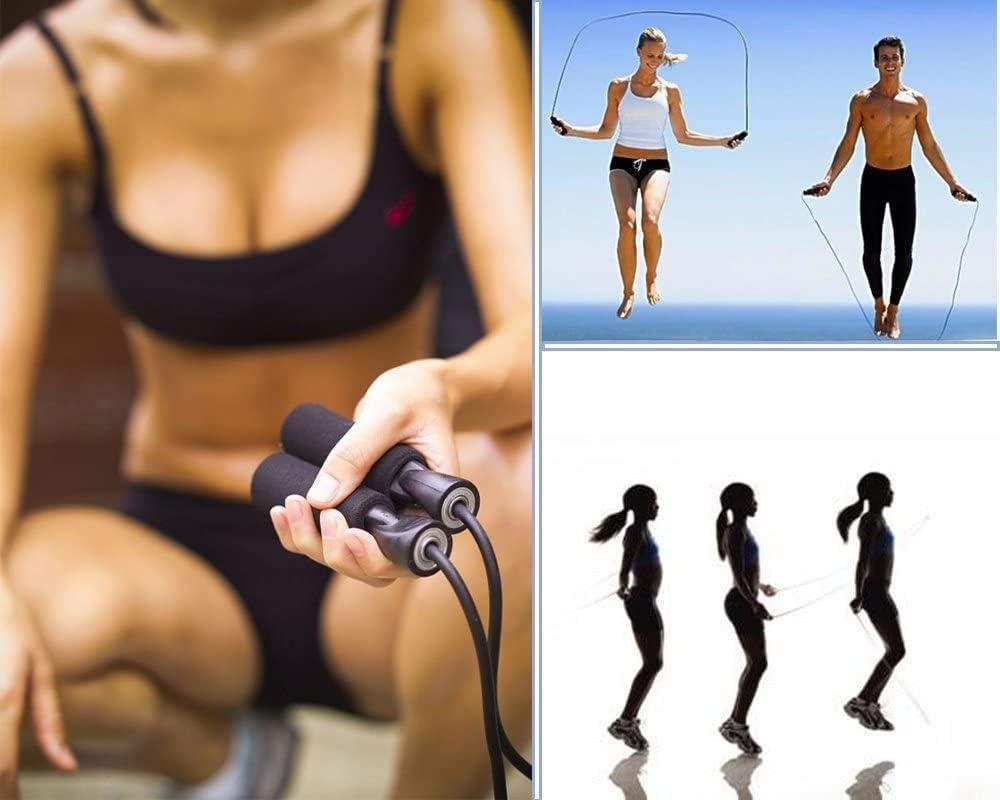 Comba Crossfit Hombre Mujer Ajustable Comba para Saltar Comba Boxeo Cuerda Saltar Ni/ños y Adultos Skevic Cuerda para Saltar Cuerda Saltar Crossfit Deportes Fitness Resistencia Velocidad